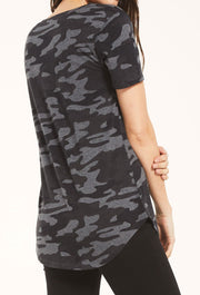 Z SUPPLY Camo Pocket Tee in Charcoal, soft relaxed fit camo pocket tee in charcoal gray/black