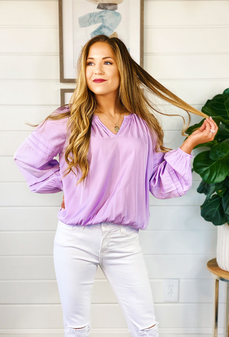 Candace Blouse in Lilac, light weight lilac blouse with sleeve pleating