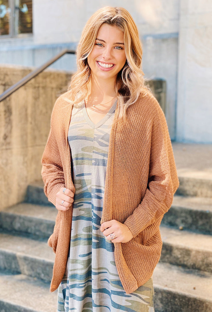 Carina Knit Cardigan in Copper Penny, light weight long sleeve knit cardigan in copper brown