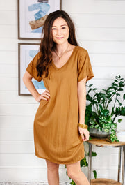 Casual Midi T-Shirt Dress in Camel, classic soft t shirt dress in a sandy camel color - hits right above the knee