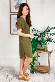Casual Midi T-Shirt Dress in Olive, classic soft t shirt dress in olive green that hits right above the knee