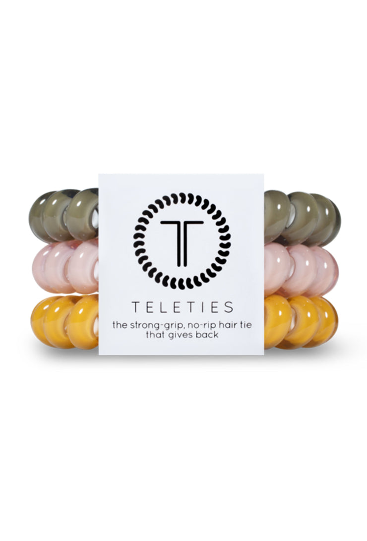 TELETIES Large Hair Ties - Chai On Life, 3 different fall colored hues coil hair ties