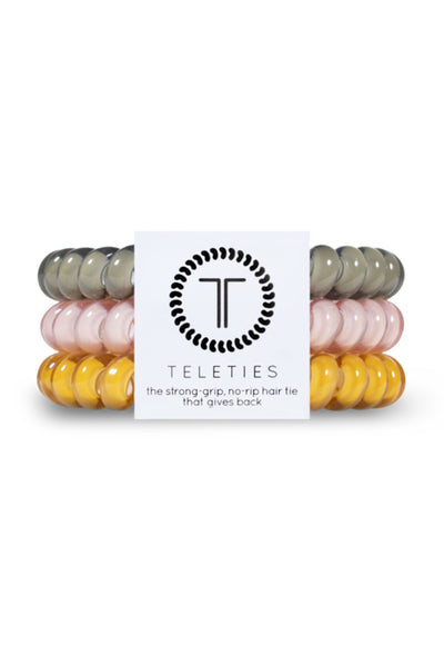 TELETIES Small Hair Ties - Chai On Life, 3 different fall color hair ties in pink, olive green and mustard