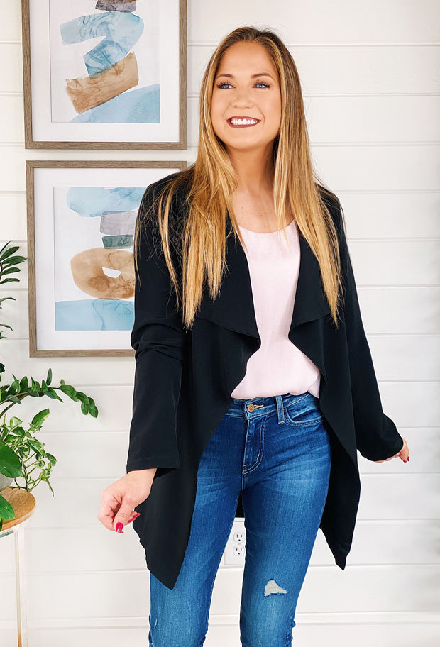 Cherelle Draped Black Blazer, black waterfall draped front blazer with waist tie