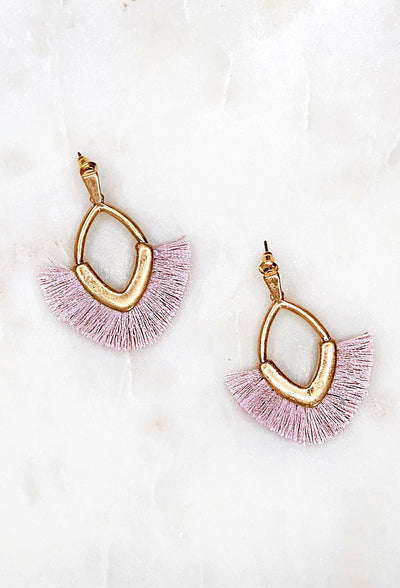Clara Fringe Earrings in Lavender, diamond shaped gold brushed earrings with lavender threads hanging off