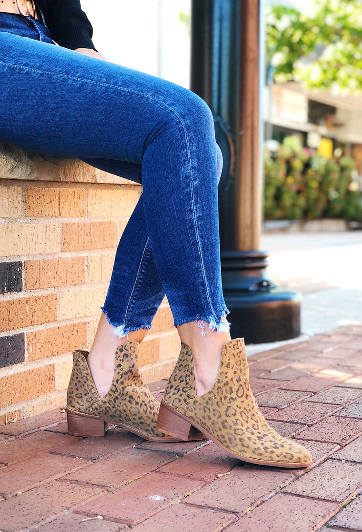 Coconuts by Matisse Pronto Bootie in Panther Print, leopard print suede booties