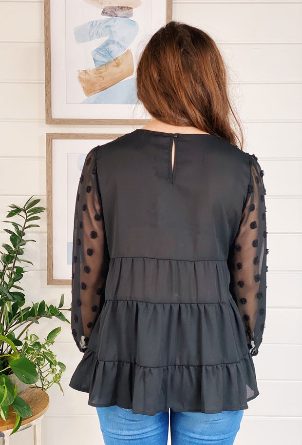 Colette Textured Black Blouse, black Swiss for blouse and sheer sleeves