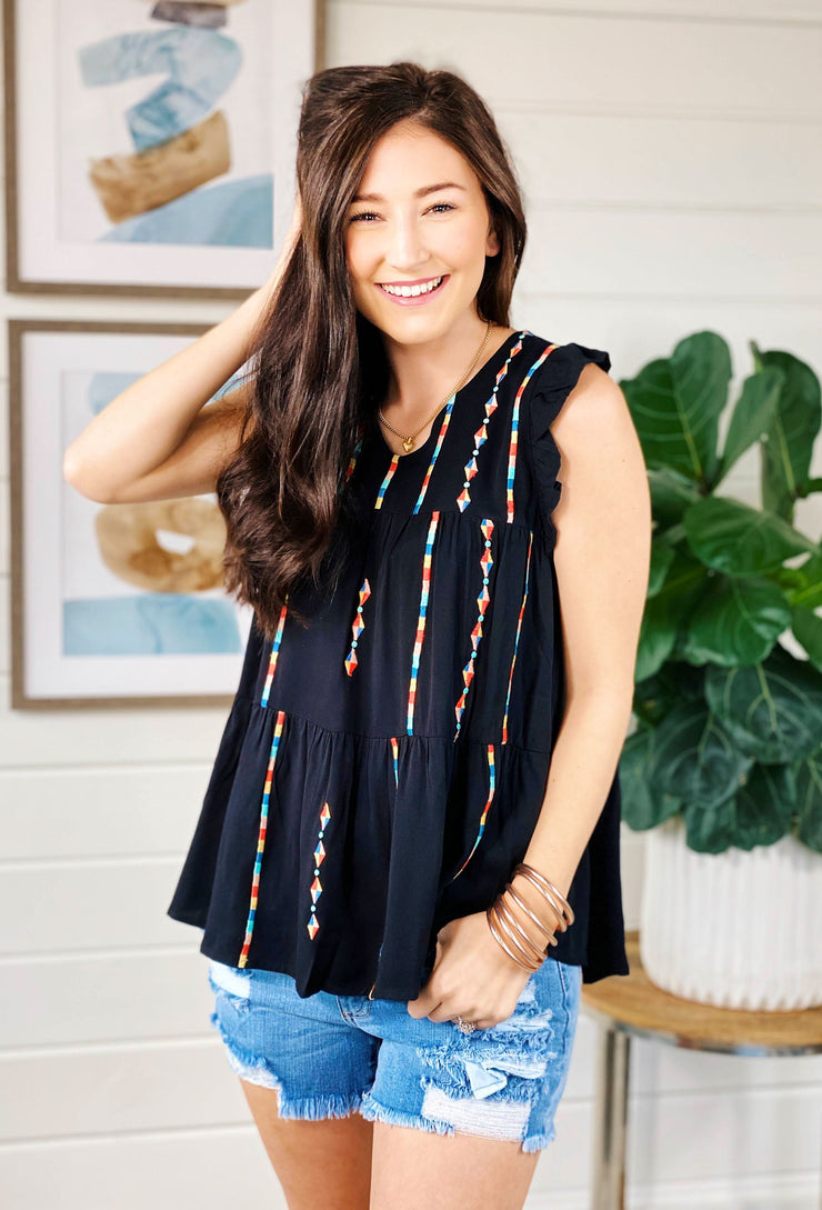 Colorful Carla Embroidered Top, black ruffle blouse with serape embroidered detail from savannah Jane