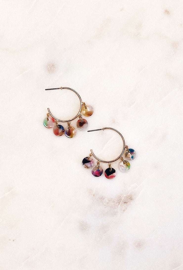 Resin Charm Hoop Earrings, colorful resin coin charms earrings