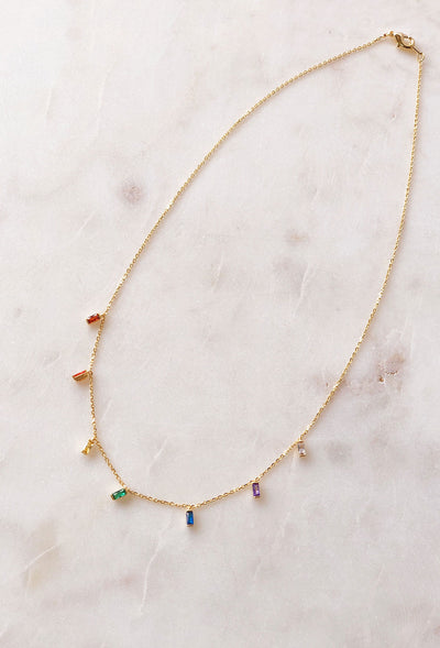 Cora Delicate Rainbow Choker Necklace