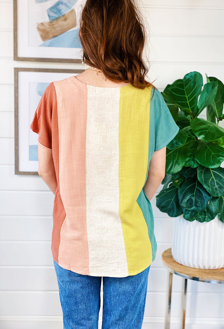 Corina Linen Colorblock Top, colorful vertical striped linen shortsleeved top