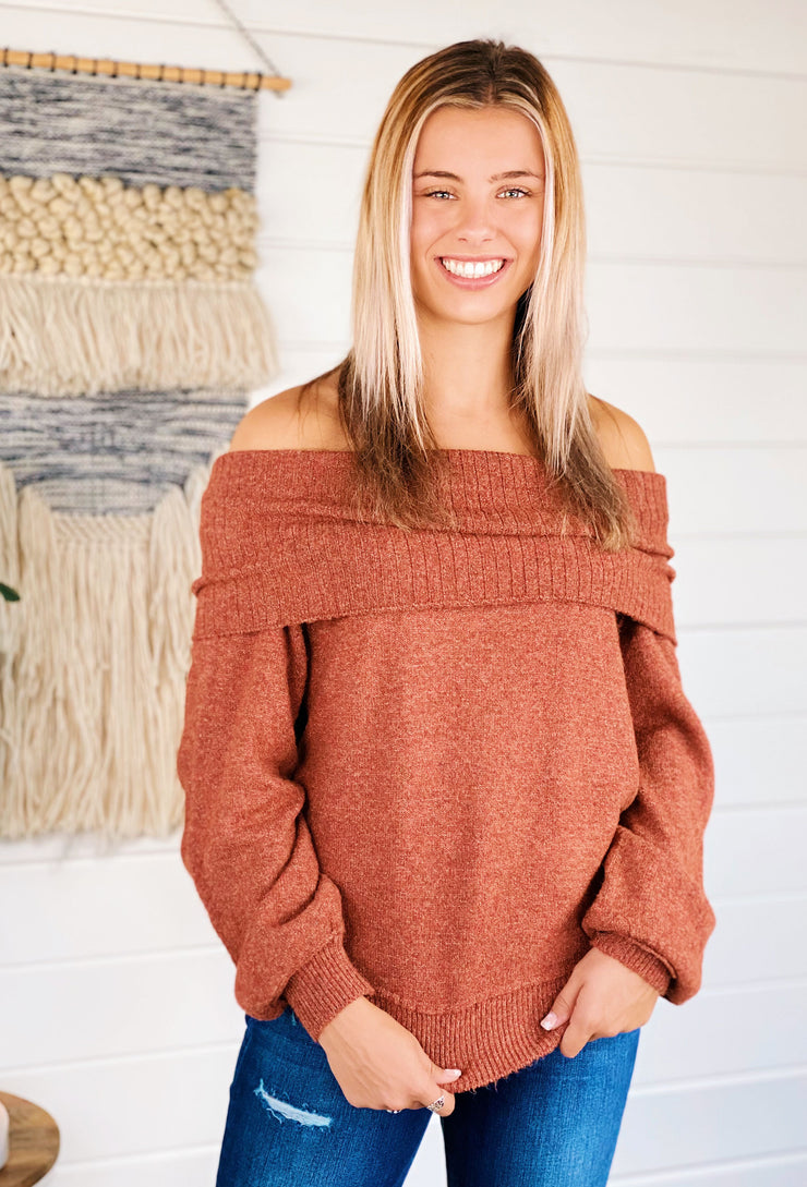 Cowl Neck Sweater in Rust, soft rust colored cowl neck sweater with ribbed hem