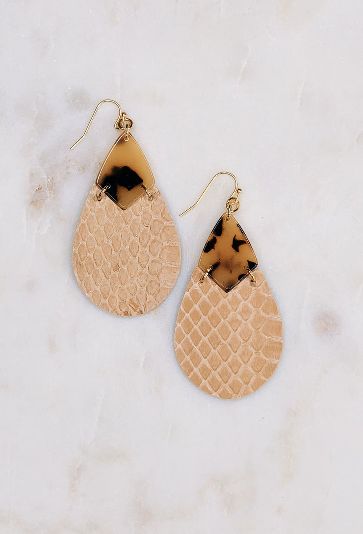 Soko Snakeskin Earrings in Beige, stamped tear drop earring with tortoise resin and faux snakeskin leather patch