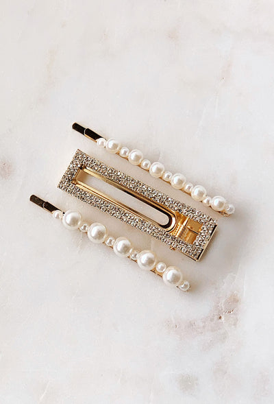 Delanie Hair Clip Trio, 2 pearl bobby pins and one crystal l alligator clip