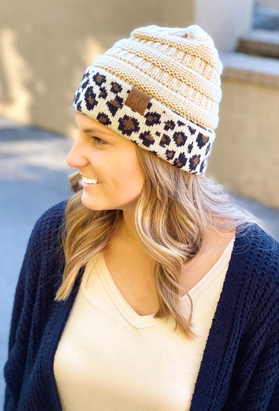 Cuffed C.C. Beanie in Ivory leopard, ivory knit beanie with cuffed leopard print