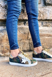 Dale Star Sneakers in Camo, Camo sneakers with a white star, faux gold leather and gold metallic laces