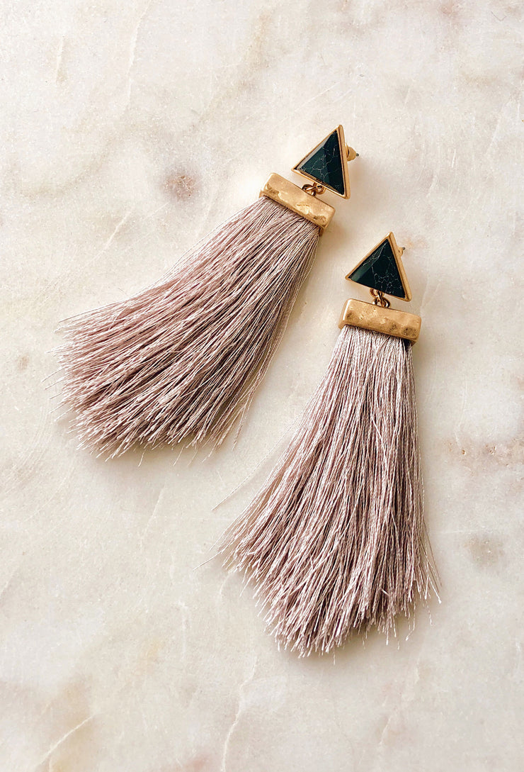 Dani Drop Tassel Earrings in Grey, Light gray tassel earrings