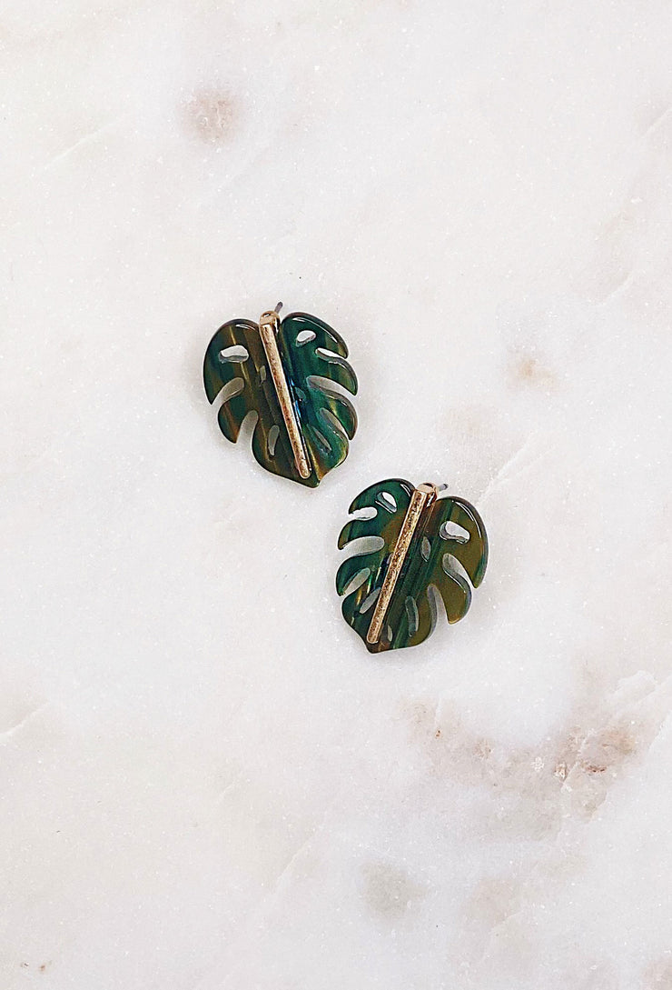 So Cal Palm Studs, dark green lucite palm stud earrings