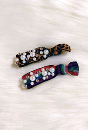Dazie Pearl Hair Ties, rainbow and leopard hair ties with pearl beading