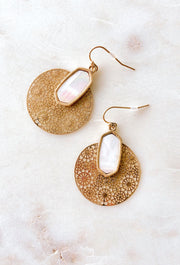 Didi Gold Filigree Earrings in Ivory Pearl