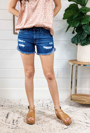 Distressed & Frayed Denim Shorts, dark blue denim shorts with frayed hem