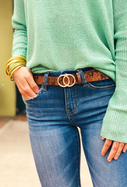 Double Circle Brown Snakeskin Belt
