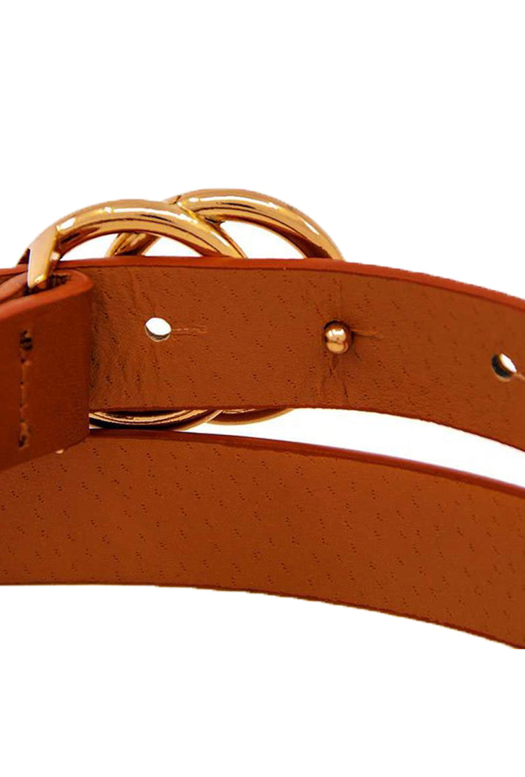 double circle belt, faux leather belt, women's adjustable belt