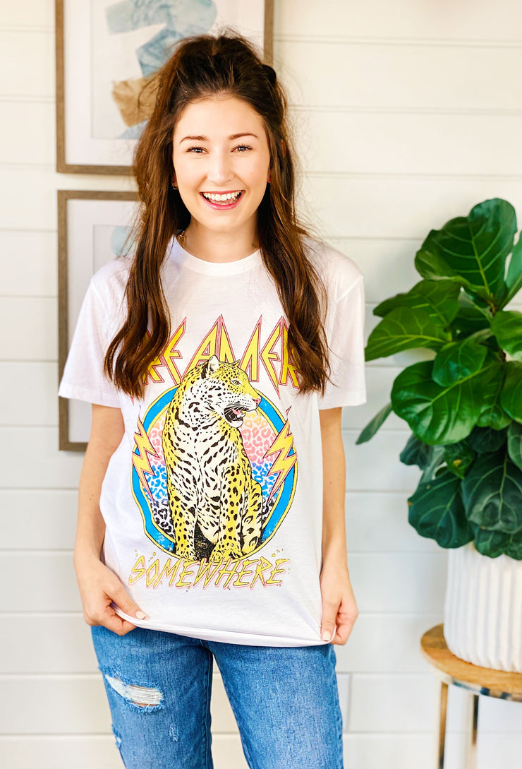 Dreamer Somewhere Graphic Tee, white graphic tee with a bright neon leopard graphic on the front