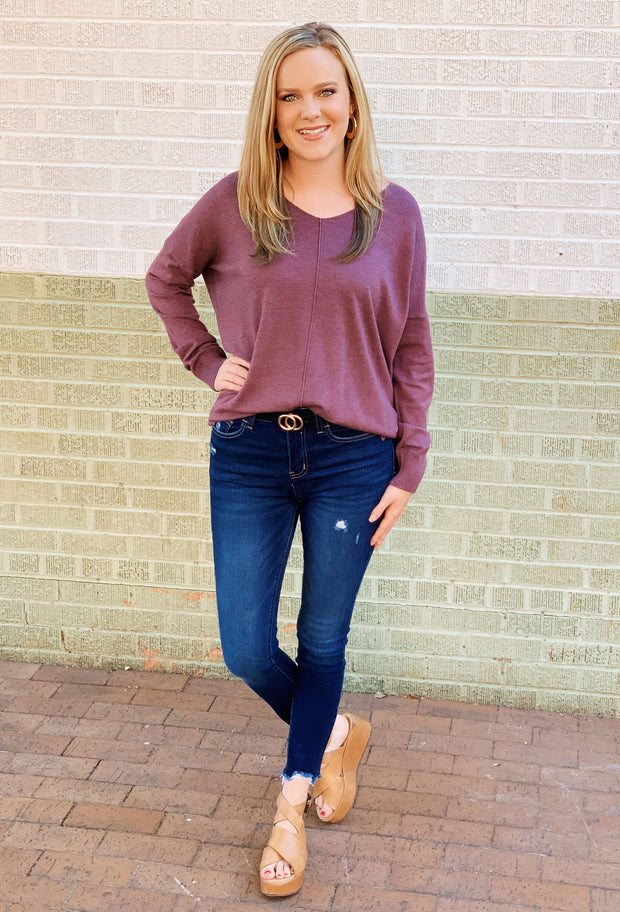 Dreamers Must Have Sweater in Heathered Acai, light purple sweater with seam down the front
