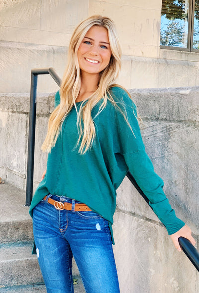 Dreamers Must Have Sweater in Heathered Juniper, green sweater with seam down the front