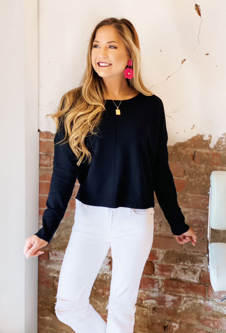 Dreamers Favorite Sweater in Black, Super soft slightly cropped sweater with seam down the front