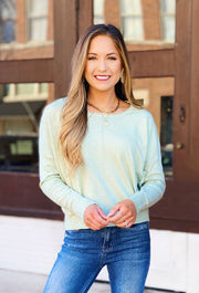 Dreamers Favorite Sweater in Heathered Celery, light pastel green super soft cropped sweater with seam down the front