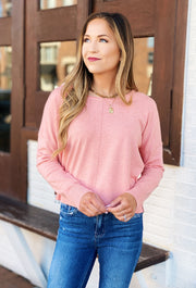 Dreamers Favorite Sweater in Heathered Flamingo, light pink super soft sweater with seam down the front
