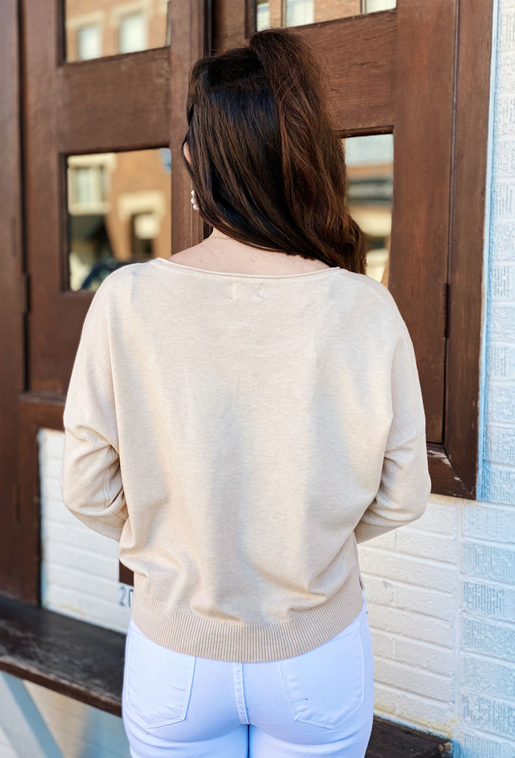 Dreamers Favorite Sweater in Heathered Oatmeal, oatmeal colored super soft sweater with seam down the front