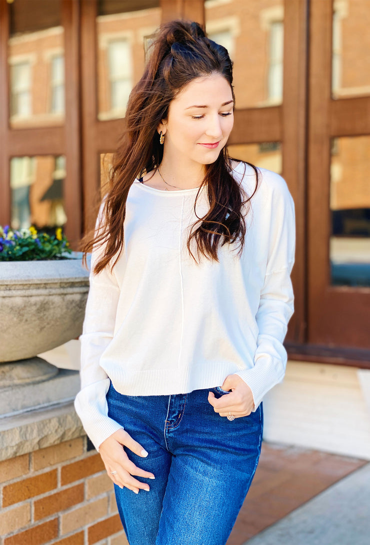 Dreamers Favorite Sweater in Off White, white soft sweater with seam down the front