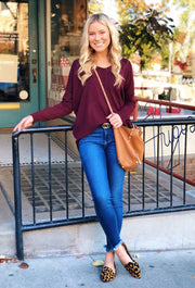 Dreamers Must Have Sweater in Heathered Plum, rusty red colored sweater with seam down the front