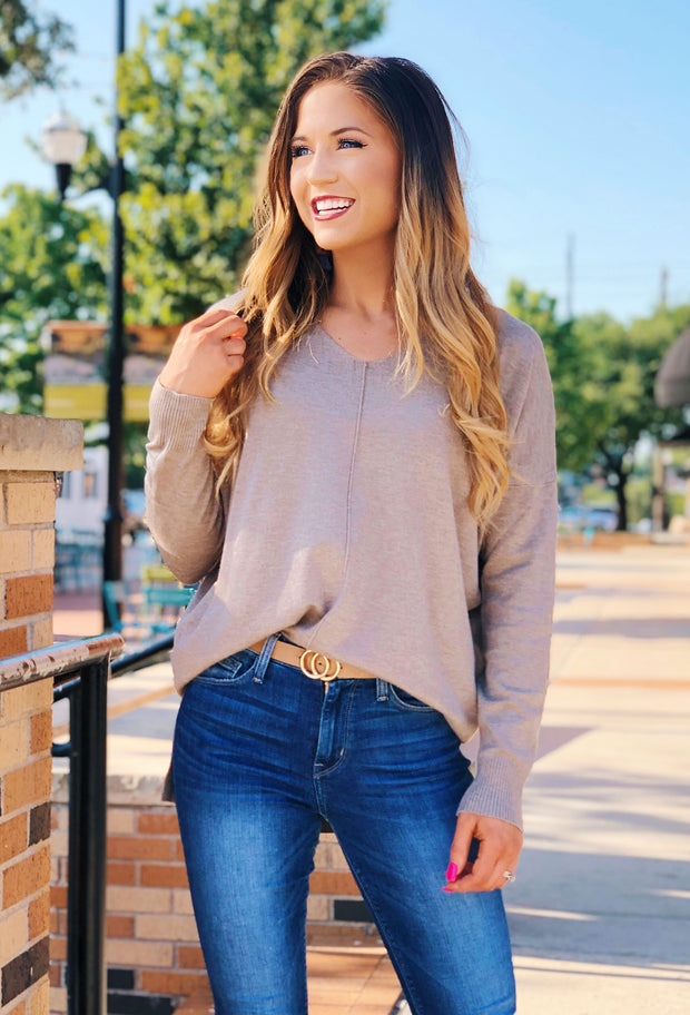 Dreamers Must Have Sweater in Heathered Mocha, mocha colored soft knit sweater