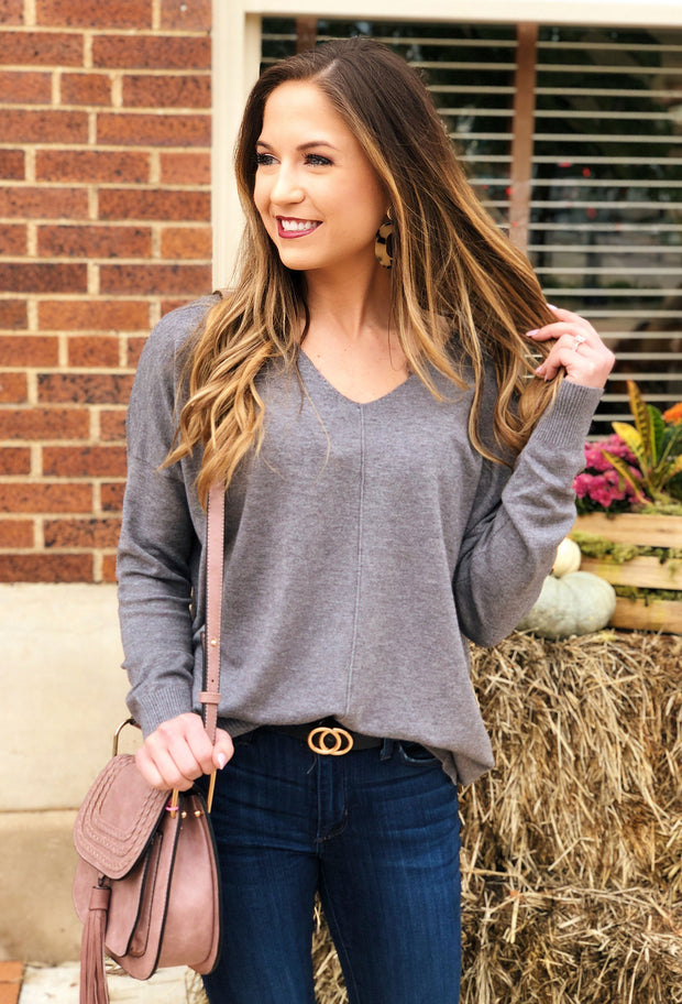 Dreamers Must Have Sweater in Charcoal, gray sweater with neck and front exposed seam