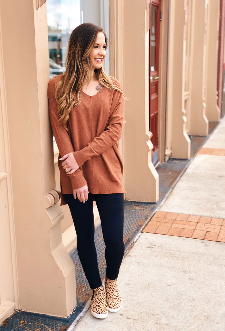 Dreamers Must Have Sweater in Heathered Ginger, pumpkin spice colored sweater with seam down front