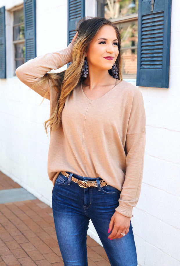 Dreamers Must Have Sweater in Heathered Camel, tan colored v neck sweater with seam down front