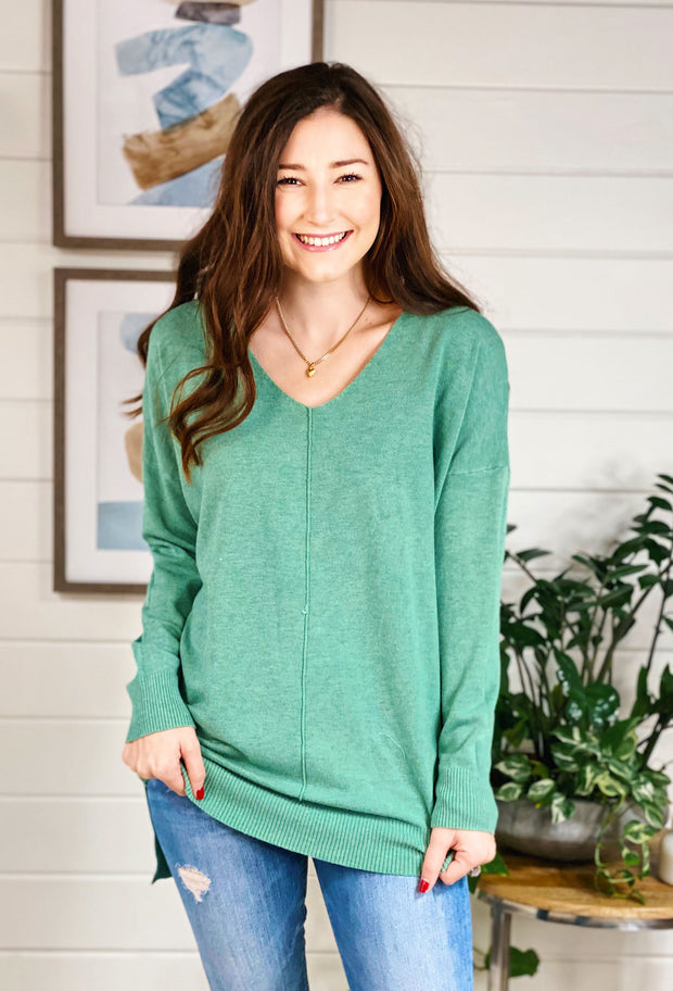 Dreamers Must Have Sweater in Heathered Chive, spring green super soft sweater with seam down the front