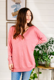 Dreamers Must Have Sweater in Heathered Dusty Rose, rosey pink super soft best selling sweater with seam down the front