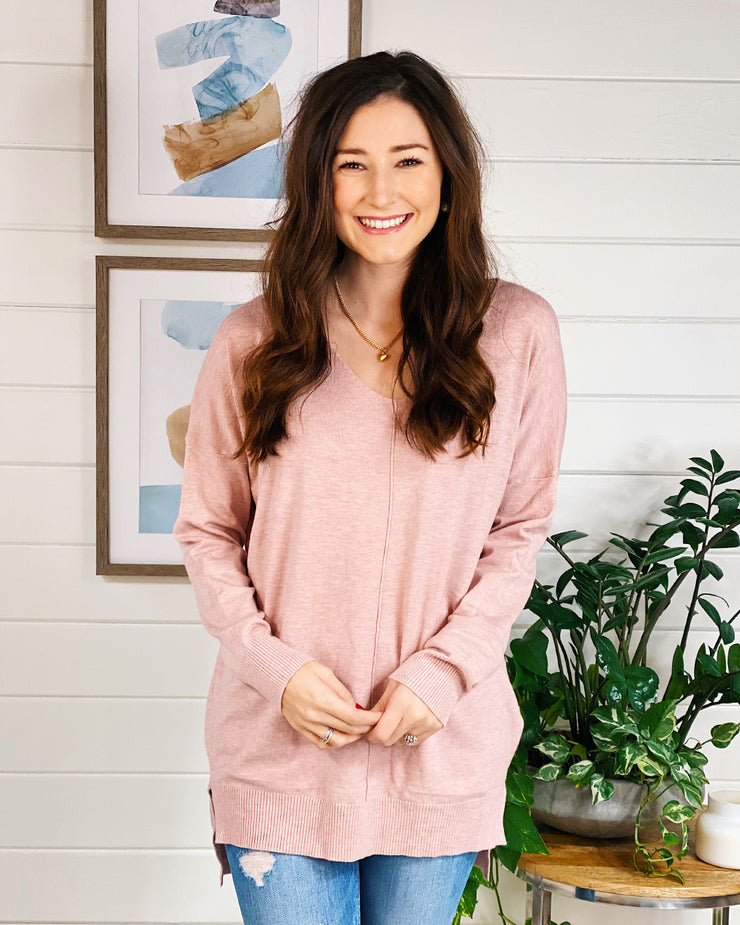 Dreamers Must Have Sweater in Heathered Peony