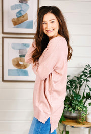 Dreamers Must Have Sweater in Heathered Peony, light pink super soft best selling sweater with a seam down the front