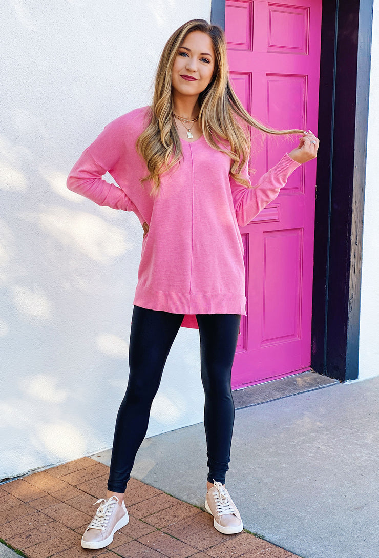 Dreamers Favorite Sweater in Off White, white soft sweater with seam down the front , best selling soft bubblegum pink sweater with seam down the front