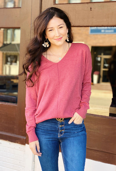 Dreamers must have sweater in Heathered Wisteria, plum berry colored sweater with seam down the front and a v neckline
