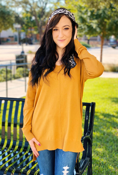 Dreamers Must Have Sweater in Marigold, mustard colored soft sweater with a seam down the front
