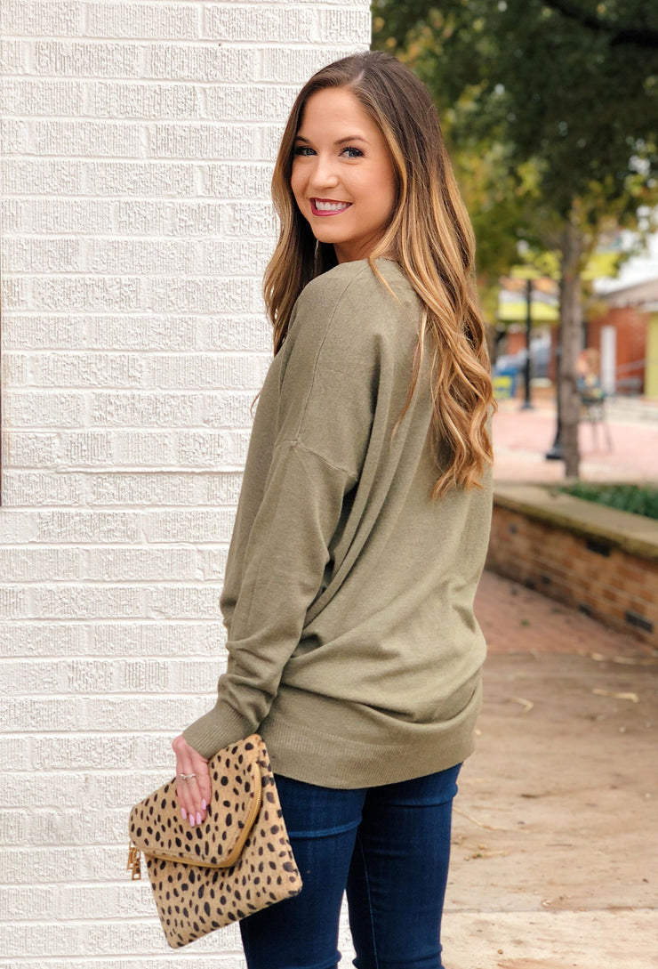 Dreamers Must Have Sweater in Heathered Olive, army green colored sweater with seam down the front