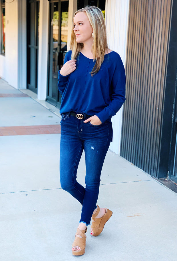 Dreamers Must Have Sweater in Heathered Sapphire, blue sweater with seam down the front