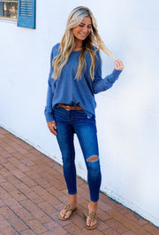 Dreamers Must Have Sweater in Heathered Steel Blue, blue sweater with seam down the front